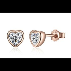 Sterling Silver Rose Gold Plated Heart Studs!